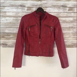 Jou Jou red vegan leather jacket